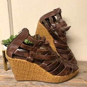 Bed Stu Brown Leather Wedge Sandals 9
